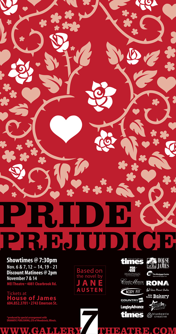 Negative-space pictograms give this poster for Jane Austen's 'Pride & Prejudice' a bit of depth.