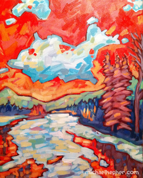 "Elk River, near Fernie, BC.  16"" x 20"" Acrylic on Canvas"