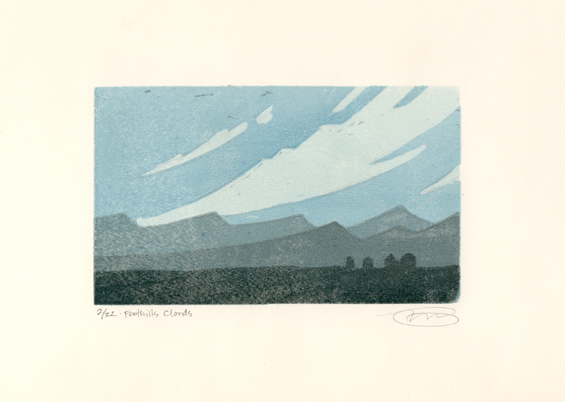 foothills woodcut print
