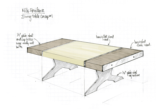 Solid wood table, legs made of sheet steel held together with tension from ready-rods that run through the wood/steel 'sandwich'.
