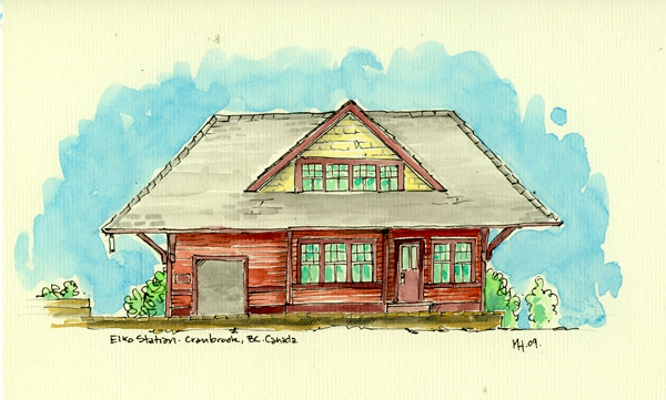 Pen & watercolour image of the old Elko Station, and the headquarters for bluebeetle creative.