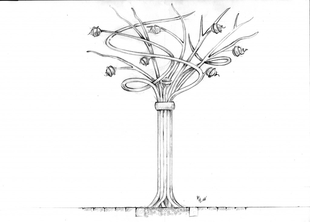 Original rendering of the Spirit Tree sculpture